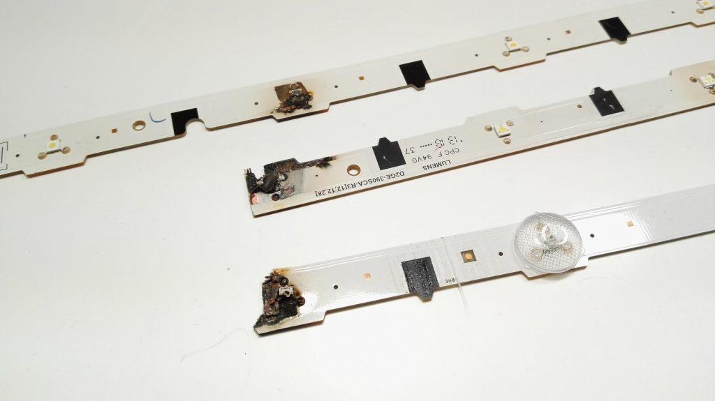 Обычный пример выгорания планок подсветки F серии четвертого, пятого и шестого поколения