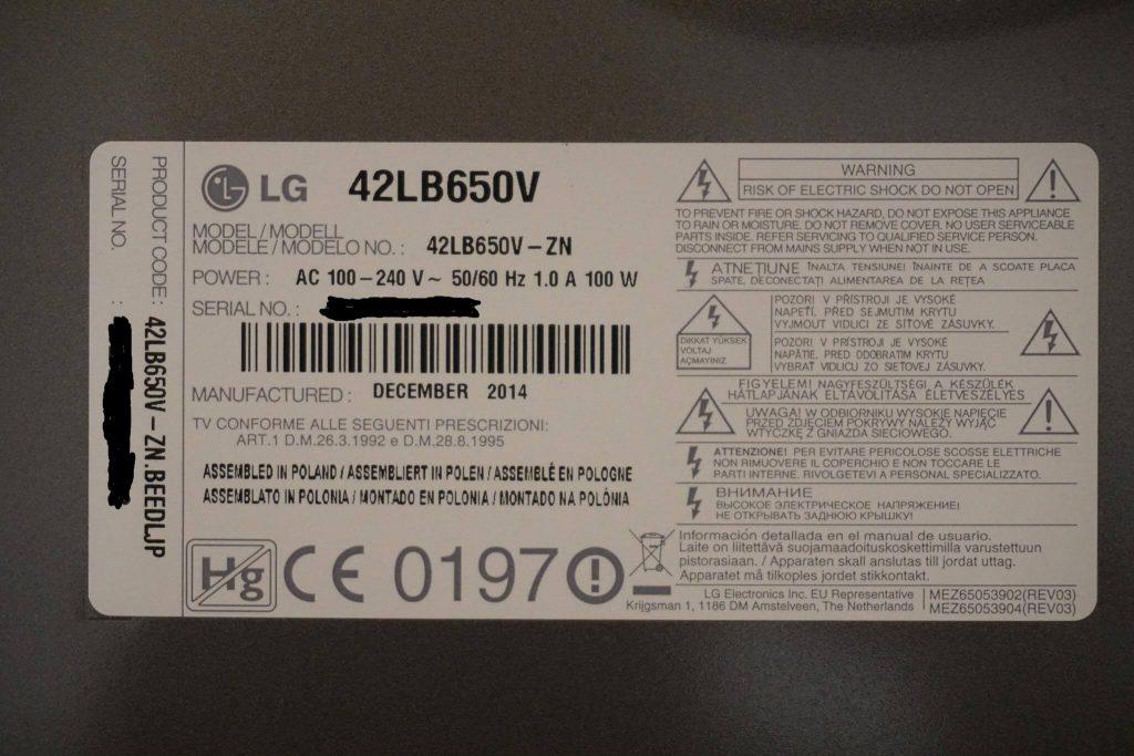 Ремонт подсветки телевизора LG 42LB650V